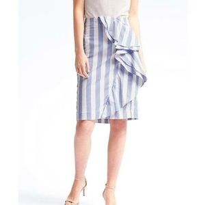 BR ruffle stripe pencil skirt